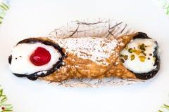 Vue supérieure de pâtisserie sicilienne typique Cannolo image stock