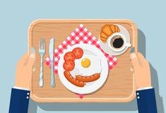 Vue supérieure de petit déjeuner sur le plateau en bois illustration libre de droits