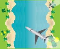 Vue supérieure de petite Jet Airplane Over Sea Scape privée illustration libre de droits