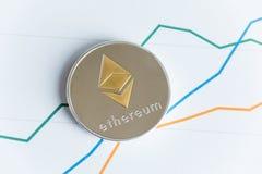 Vue supérieure de pièce de monnaie de cryptocurrency d'ethereum d'or sur commerce de graphe linéaire Image libre de droits
