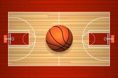 Vue supérieure de plancher de terrain de basket Photographie stock
