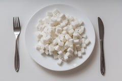 Vue supérieure de plat complètement de cubec de sucre Concept malsain de consommation photo stock