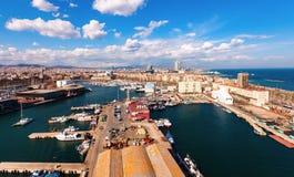Vue supérieure de port Vell. Barcelone photographie stock libre de droits