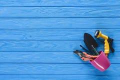 vue supérieure de pot de fleurs avec l'équipement de jardinage sur le bleu Photo libre de droits