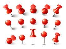 Vue supérieure de punaise rouge Punaise pour la collection d'attache de note Goupilles réalistes de la poussée 3d goupillées dans illustration stock