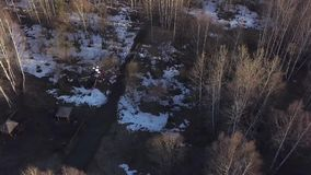 Vue supérieure de quadcopter volant au-dessus de l'agrafe de forêt Le nouveau quadcopter puissant prend des photos du vol d'air a banque de vidéos