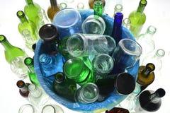 Vue supérieure de réutiliser le verre sur le blanc Photo libre de droits