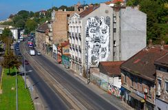 Vue supérieure de rue de Karadordeva, image stock