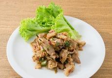 Vue supérieure de salade grillée épicée de boeuf photographie stock