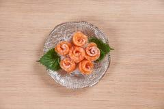 Vue supérieure de Salmon Sashimi Photographie stock libre de droits