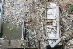 Vue supérieure de secteur de dommages, d'accident et de bâtiment d'effondrement Photo stock