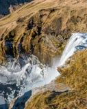 Vue supérieure de Skogafoss en Islande Images stock