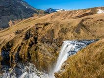 Vue supérieure de Skogafoss en Islande Image stock
