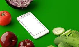 Vue supérieure de smartphone avec l'écran vide et les légumes crus frais sur la table en bois illustration 3D illustration de vecteur