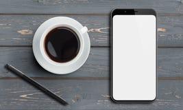 Vue supérieure de Smartphone sur la vieille table en bois avec le stylet et le café Photographie stock