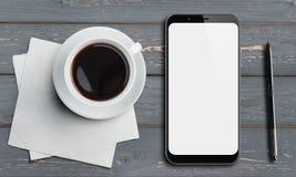 Vue supérieure de Smartphone sur la vieille table en bois avec le stylet et le café Photo libre de droits