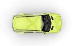 Vue supérieure de SUV de vert de chaux Photos libres de droits