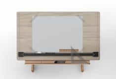 Vue supérieure de table de dessin avec des outils, chemin de coupure inclus Image libre de droits