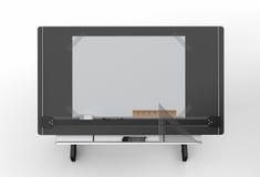 Vue supérieure de table de dessin noire avec des outils, inclu de chemin de coupure Images stock