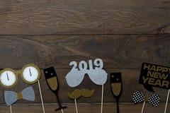 Vue supérieure de Tableau de concept de décorations de Joyeux Noël et d'ornements de la bonne année 2019 photos stock