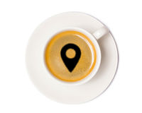 Vue supérieure de tasse de café d'isolement sur le fond blanc avec la coupure Photos stock
