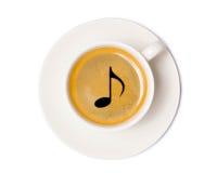 Vue supérieure de tasse de café d'isolement sur le fond blanc avec la coupure Images stock