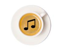 Vue supérieure de tasse de café d'isolement sur le fond blanc avec la coupure Photo libre de droits