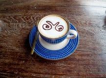 Vue supérieure de tasse de café sur la vieille table en bois Photo stock