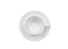 Vue supérieure de tasse de café vide sur le fond blanc Images stock
