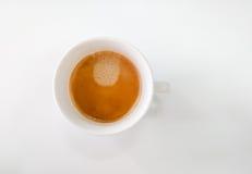 Vue supérieure de tasse de tasse contenant le café chaud de cappuccino Photo stock