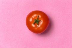 Vue supérieure de tomate rouge sur un fond rose Photographie stock libre de droits