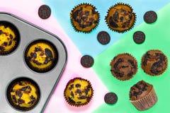 Vue supérieure de vanila, de café et de chocolat délicieux faits maison frais image stock