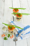 Vue supérieure de verrine de fruits de mer Photo stock