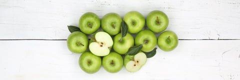 Vue supérieure de vert de bannière de fruits de fruit de pomme de pommes Image libre de droits