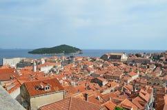Vue supérieure de vieille ville de Dubrovnik images libres de droits