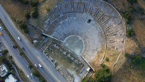 Vue supérieure de ville antique de Halicarnassus Amphithéâtre dans la station touristique de Bodrum Longueur a?rienne clips vidéos