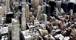 Vue supérieure de ville avec la neige Photographie stock