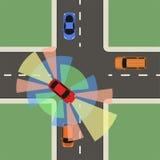 Vue supérieure de voiture autonome Individu conduisant le véhicule illustration stock