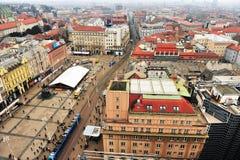 Vue supérieure de Zagreb du centre, Croatie Photographie stock libre de droits