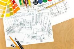 Vue supérieure de zone de manoeuvre de designer€™s avec des outils de dessin Images libres de droits