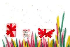 Vue supérieure des boîte-cadeau de Noël avec l'herbe colorée sur le Ba blanc Photographie stock libre de droits