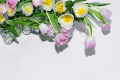 Vue supérieure des bouquets des tulipes dans des pots en verre sur un fond blanc photo stock