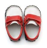 Vue supérieure des chaussures en cuir de bébé Photos libres de droits