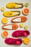 vue supérieure des chaussures femelles élégantes placées dans la rangée entourée par des tranches de différents agrumes images libres de droits