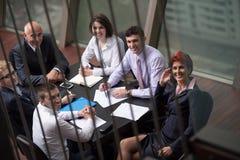 Vue supérieure des gens d'affaires de groupe sur la réunion Photographie stock