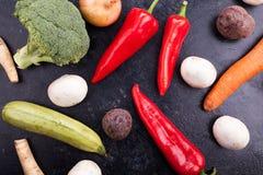 Vue supérieure des légumes frais sains photographie stock libre de droits