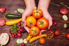 Vue supérieure des tomates jaunes dans des mains Ensemble de légumes : choux, radis, poivre, verts sur un fond en bois images stock