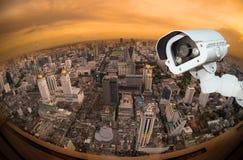 Vue supérieure du centre de Bangkok de gratte-ciel à partir de dessus de la Thaïlande, poisson e photo libre de droits