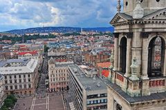 Vue supérieure du centre de la ville de Budapest Photographie stock