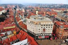 Vue supérieure du centre de la ville de Zagreb Photos libres de droits